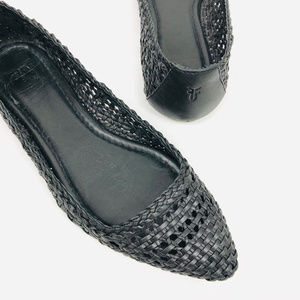 Frye Regina Leather Woven Ballet Flats